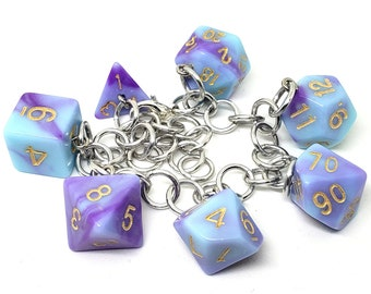 Warlock's Whispers Polyhedral Dice Set Charm Bracelet - Dungeons and Dragons  Dice - DnD Dice