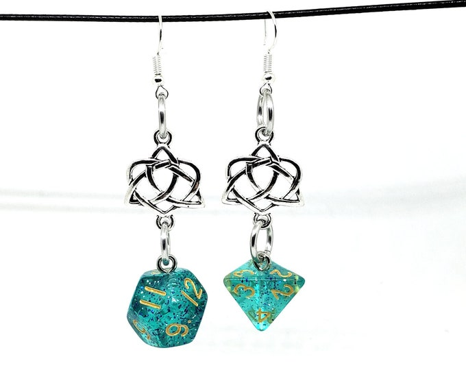Teal Glitter Celtic Charm Dice Earrings - D12 and D4 Earrings - D&D Earrings - DND Earrings - DnD Dice