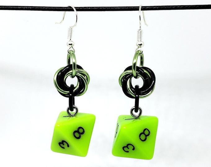 Sticky Ichor Dice Earrings -  D8 Earrings - D&D Earrings - DND Earrings - DnD Dice