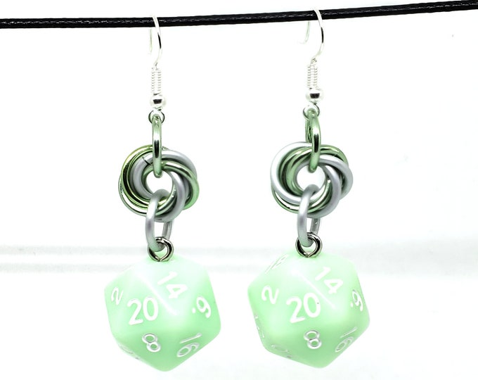 Mint Green Mobius Nat 20 Earrings - D20 Earrings - D&D Earrings - DND Earrings - DnD Dice - Dice Earrings