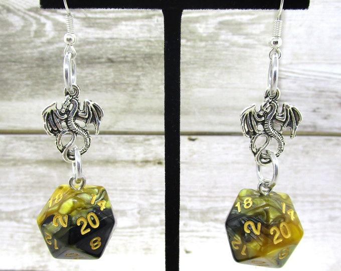 Fool's Gold Swirl Dragon Nat 20 Earrings - D20 Earrings - D&D Earrings - DND Earrings - Dice Earrings - Black  and Gold Dice