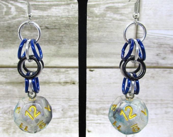 Luminous Shadow Shaggy D12 Earrings - D&D Earrings - DND Earrings - DnD Dice - Dice Earrings