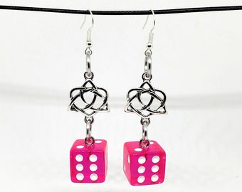 Translucent Hot Pink and White Pipped Dice Earrings with Celtic Charms - D6 Earrings - D&D Earrings - DND Earrings - Yahtzee Dice - DnD Dice