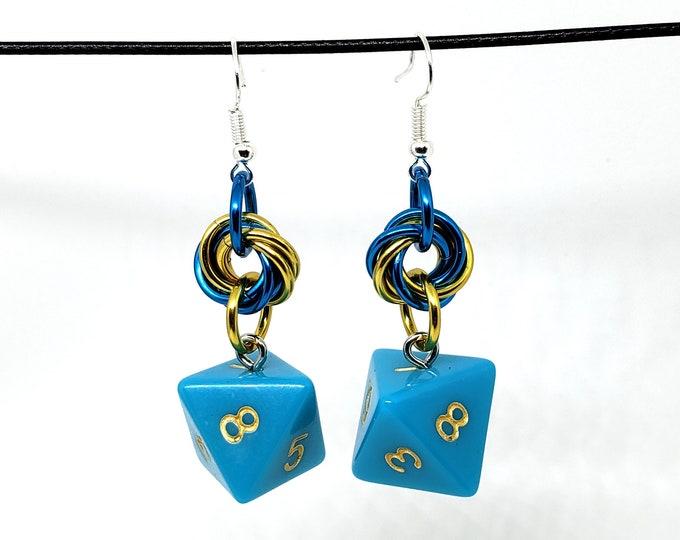 Skystone Dice Earrings -  D8 Earrings - D&D Earrings - DND Earrings - DnD Dice
