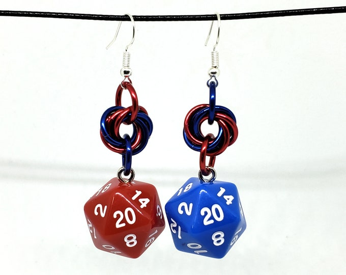 Red and Blue - Health and Mana Nat 20 Earrings - D20 Earrings - D&D Earrings - DND Earrings - Dice Earrings
