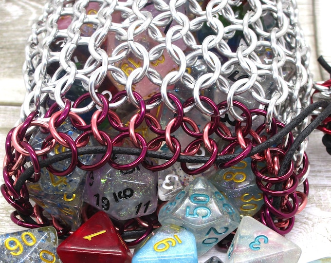 Winter Wine and Rose Accent Large Chainmaille Dice Bag| High Capacity | Dice Pouch | Coin Purse - Chainmail