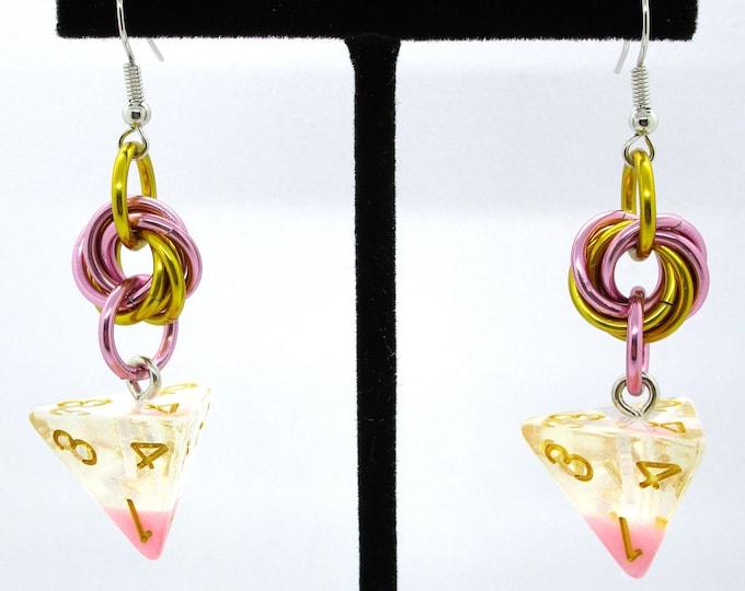 Cherry Blossom Mobius D4 Earrings - D&D Earrings - DND Earrings - DnD Dice - Dice Earrings