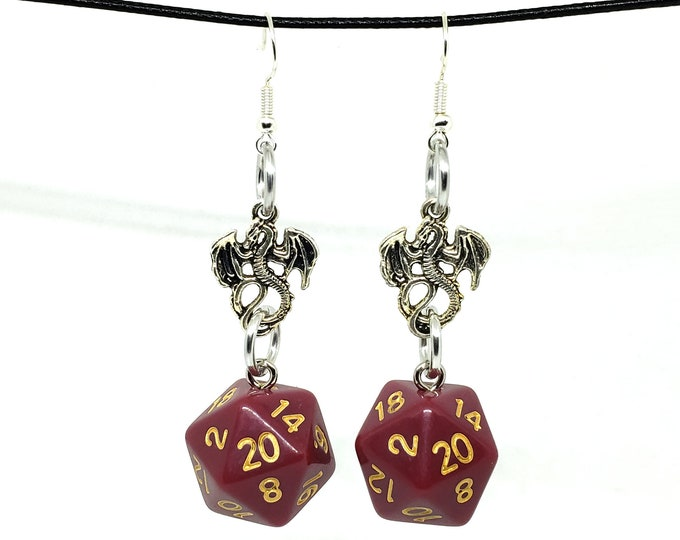 Cranberry Red Dragon Nat 20 Earrings - D20 Earrings - D&D Earrings - DND Earrings - Dice Earrings