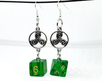 Sylvan Spirit Celtic Charm Dice Earrings - D6 and D8 Earrings - D&D Earrings - DND Earrings - DnD Dice