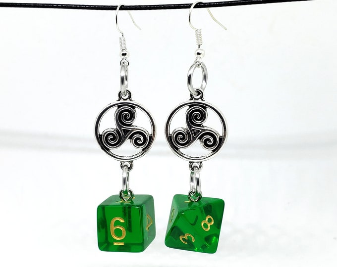 Translucent Green Celtic Charm Dice Earrings - D6 and D8 Earrings - D&D Earrings - DND Earrings - DnD Dice