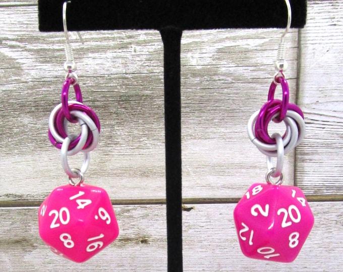 Dragon Berry Mobius Nat 20 Earrings - D20 Earrings - D&D Earrings - DND Earrings - DnD Dice - Dice Earrings - Mobius Charm