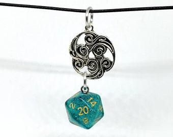 Teal Glitter Nat 20 Pendant - Dungeons and Dragons Pendant - D&D Dice - Dice Pendant