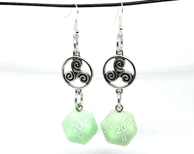 Ghost Jade Celtic Charm Nat 20 Earrings - D20 Earrings - D&D Earrings - DND Earrings - Dice Earrings