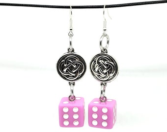 Baby Pink and White Pipped Dice Earrings with Celtic Charms - D6 Earrings - D&D Earrings - DND Earrings - Yahtzee Dice - DnD Dice
