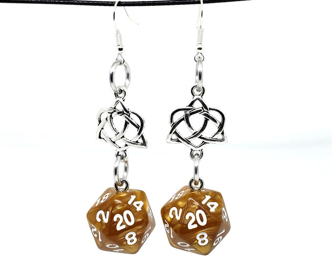 Shimmery Gold Celtic Charm Nat 20 Earrings - D20 Earrings - D&D Earrings - DND Earrings - Dice Earrings