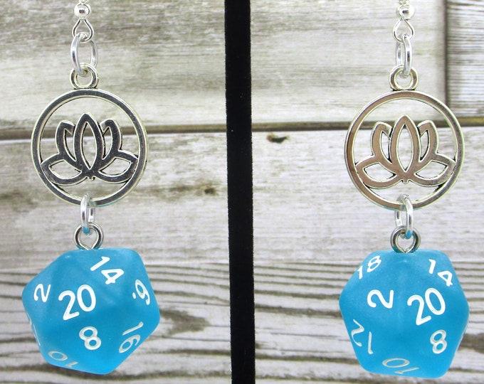 Lotus Charm Nat20 Earrings  - D20 Earrings - D&D Earrings - DND Earrings - Dice Earrings - Green Dice