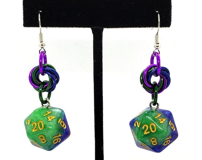 Jester Mobius Nat 20 Earrings - D20 Earrings - D&D Earrings - DND Earrings - DnD Dice - Dice Earrings
