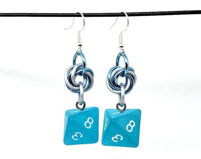 Sea Glass Dice Earrings -  D8 Earrings - D&D Earrings - DND Earrings - DnD Dice