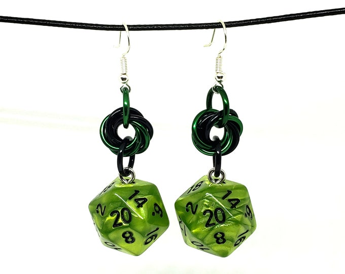 Grass Green Mobius Nat 20 Earrings - D20 Earrings - D&D Earrings - DND Earrings - DnD Dice - Dice Earrings