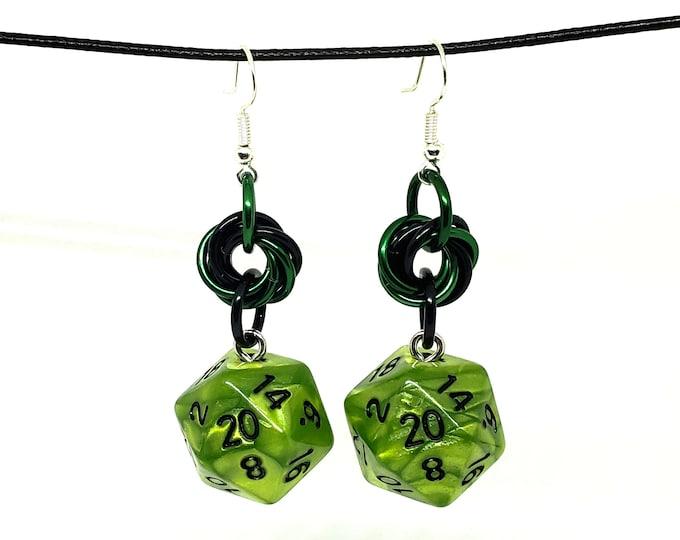 Swamp Ooze Mobius Nat 20 Earrings - D20 Earrings - D&D Earrings - DND Earrings - DnD Dice - Dice Earrings