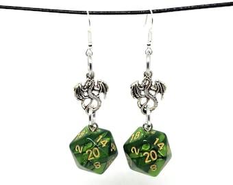 Pearlescent Green Dragon Nat 20 Earrings - D20 Earrings - D&D Earrings - DND Earrings - Dice Earrings