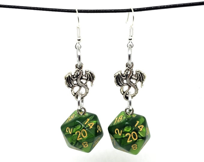 Pearlescent Green Dragon Nat 20 Earrings - D20 Earrings - D&D Earrings - DND Earrings - Dice Earrings