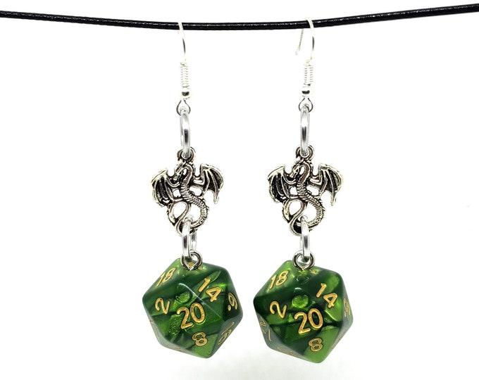 Jade Oil Dragon Nat 20 Earrings - D20 Earrings - D&D Earrings - DND Earrings - Dice Earrings