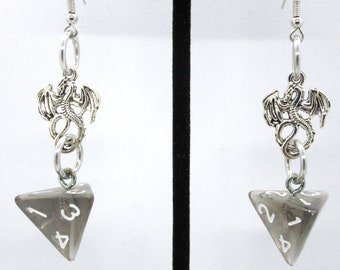 Drowskin Dragon Charm D4 Earrings - D&D Earrings - DND Earrings - DnD Dice - Dice Earrings