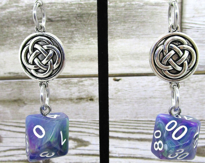 Muse Celtic Charm Dice Earrings - D10 and D% Earrings - D&D Earrings - DND Earrings - DnD Dice