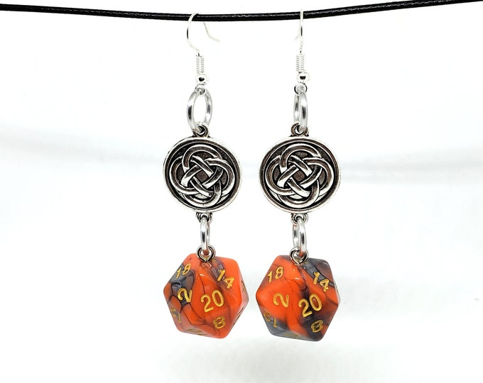 Orange and Steel Swirl Celtic Charm Nat 20 Earrings - D20 Earrings - D&D Earrings - DND Earrings - Dice Earrings
