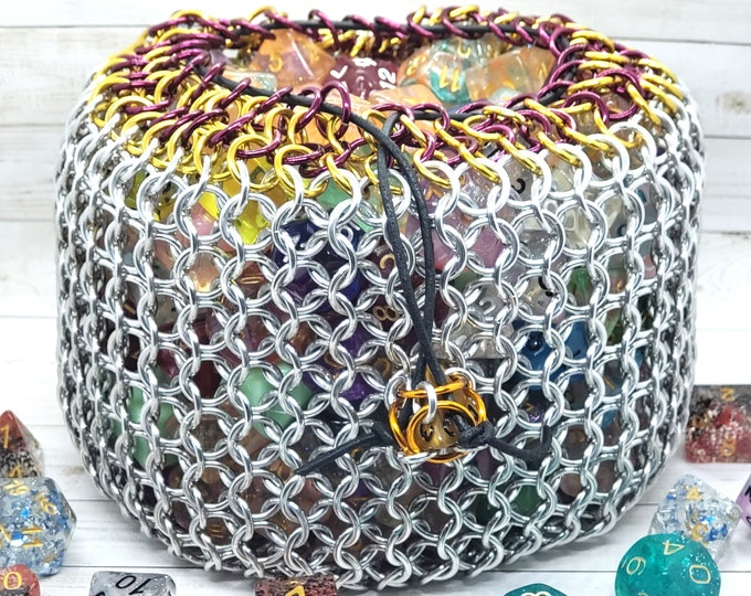 Wine and Gold Accent Silver Behemoth Chainmaille Dice Sack | High Capacity | Giant Bag - Chainmail - READY TO SHIP