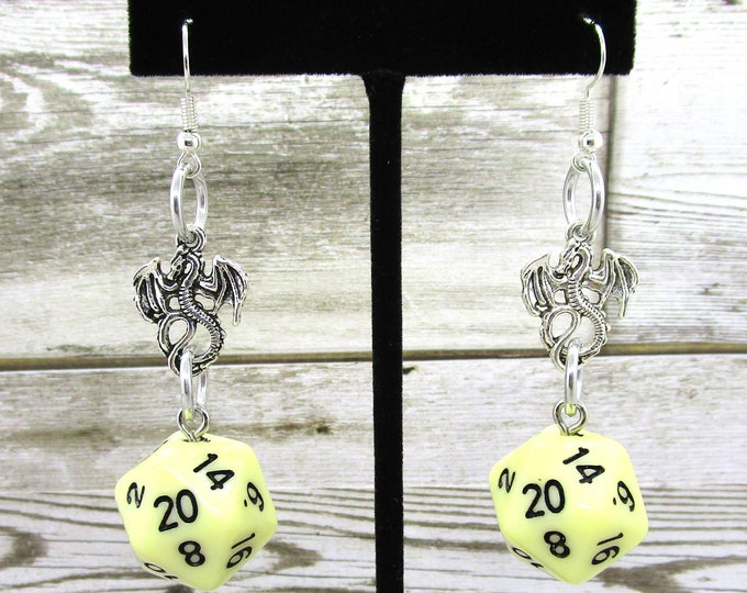 Goblin Teeth Dragon Nat 20 Earrings - D20 Earrings - D&D Earrings - DND Earrings - DnD Dice - Dice Earrings