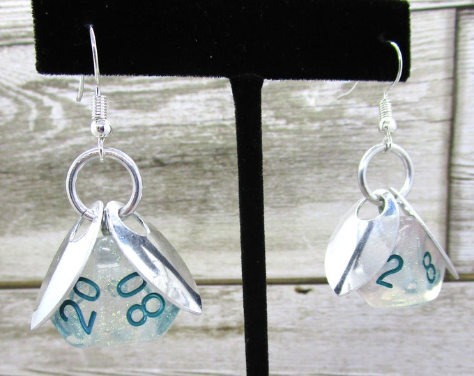 Wings of the Frost Sprite Dice Earrings - D10 and D% Earrings - D&D Earrings - DND Earrings - DnD Dice