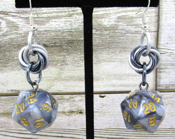 Two-Toned Silver and Gunmetal Nat 20 Earrings - D20 Earrings - D&D Earrings - DND Earrings - Dice Earrings