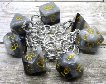 Shades of Gray Polyhedral Dice Set Charm Bracelet - Dungeons and Dragons  Dice - DnD Dice