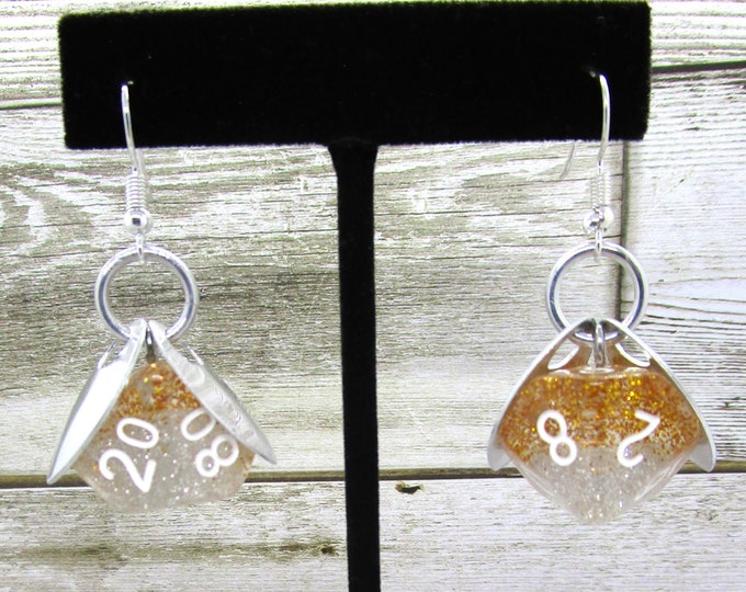 Wings of the Silver Sprite Dice Earrings - D10 and D% Earrings - D&D Earrings - DND Earrings - DnD Dice