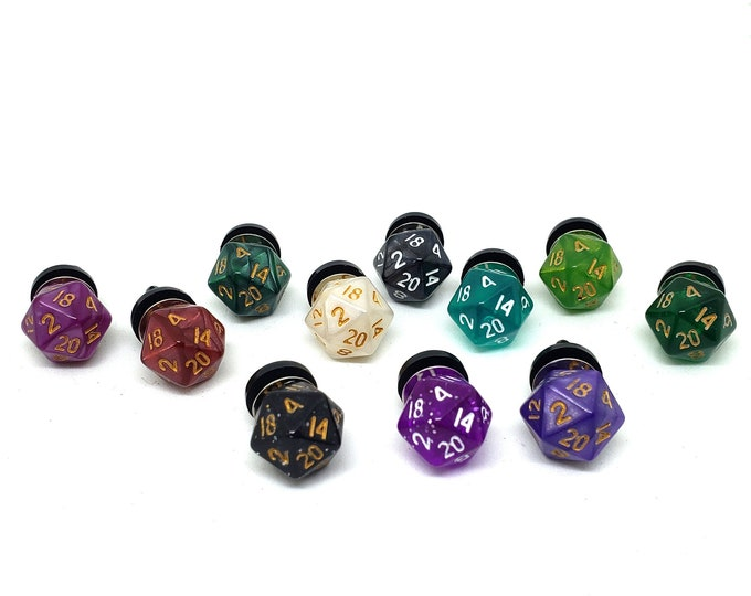 Mini D20 Tie Tacks - DnD Tie Tack - Dice - Dungeons and Dragons - Dice