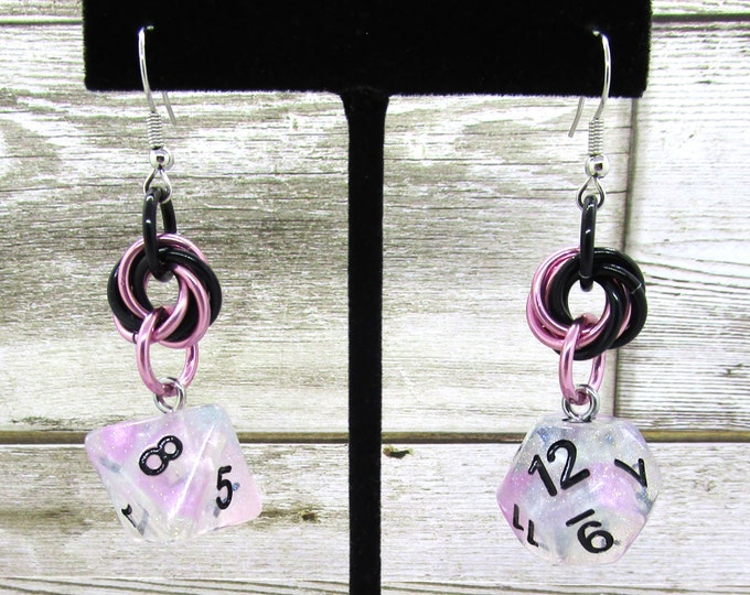 Ro Chrome Mobius Dice Earrings - D8 and D12 Earrings - D&D Earrings - DND Earrings - DnD Dice