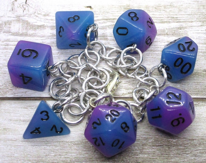Blue Swirl Glow in the Dark Polyhedral Dice Set Charm Bracelet - Dungeons and Dragons  Dice - DnD Dice - Blue and Purple Dice