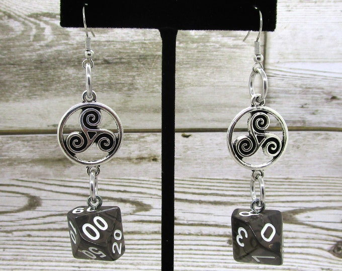 Penumbra Celtic Charm Dice Earrings - D10 and D% Earrings - D&D Earrings - DND Earrings - DnD Dice