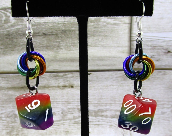 Opaque Rainbow Dice Earrings - D10 and D% Earrings - D&D Earrings - DND Earrings - DnD Dice