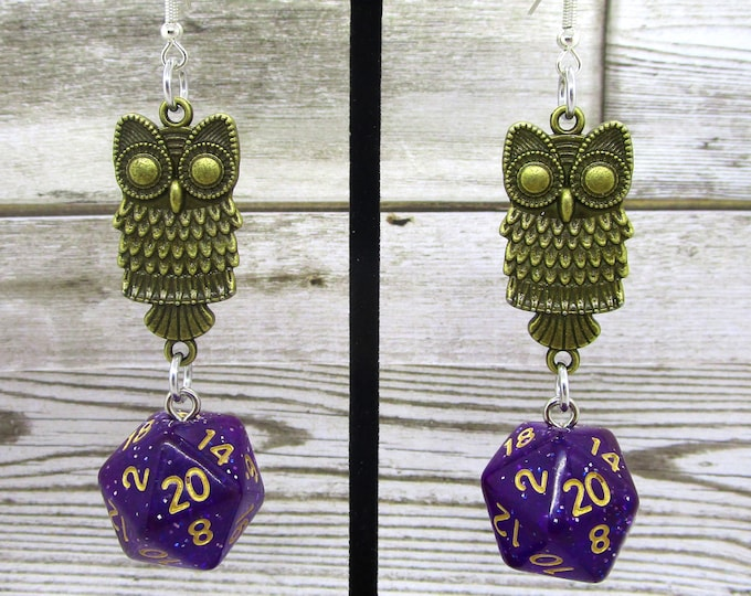 Midnight Nebula Bronze Owl Nat 20 Earrings - D20 Earrings - D&D Earrings - DND Earrings - Dice Earrings - Black  and Gold Dice