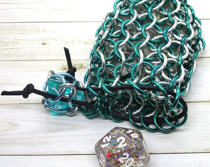 Mermaid Green and Silver Single Set Chainmaille Dice Bag - Dicebag -  Handmade - Chainmail