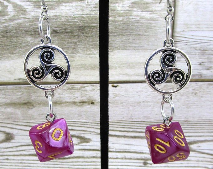 Abyssal Mist Celtic Charm Dice Earrings - D10 and D% Earrings - D&D Earrings - DND Earrings - DnD Dice