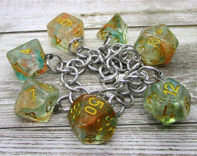 Luminous Koi Polyhedral Dice Set Charm Bracelet - Dungeons and Dragons  Dice - DnD Dice