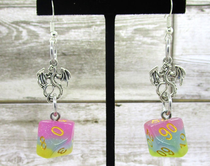 Candyland Silver Dragons Dice Earrings - Dragon Charm - D10 and D% Earrings - D&D Earrings - DND Earrings - DnD Dice