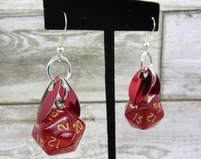 Wings of the Fire Sprite Nat 20 Earrings - D20 Earrings - D&D Earrings - DND Earrings - Dice Earrings