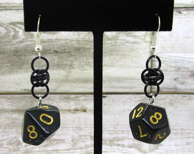 Stardust Dice Earrings - D10 and D12 Earrings - D&D Earrings - DND Earrings - DnD Dice