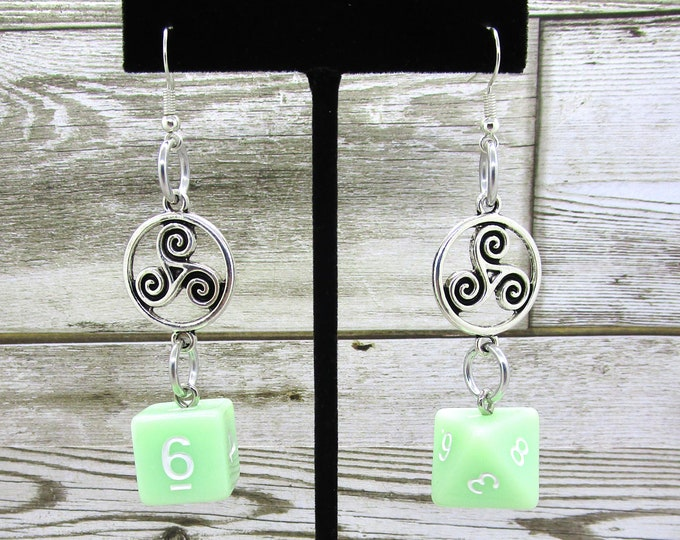 Ghost Jade Celtic Charm Dice Earrings - D6 and D8 Earrings - D&D Earrings - DND Earrings - DnD Dice
