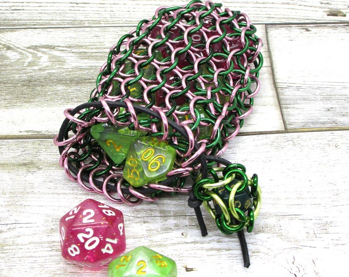 Green and Pink Chainmaille Dice Bag -  Double Set Bag